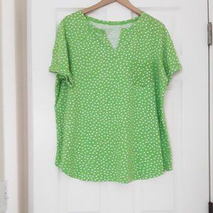 Woman Within Green Polka Dot Shirt